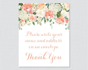 "Peach Address an Envelope Sign - Printable Download - Peach and Cream Flowers ""Please Write Your Name and Address on an Envelope"" Sign 0028"