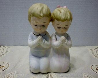 Sanmyro praying boy and girl figurine Made in Japan