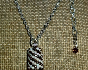 Cut Clear Crystal Quartz Pendant Necklace with Hand Beaded Bail