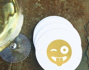 Sous-verres de papier - cadeau d'hôtesse visage Emoji - feuille d'or estampillé - cocktail party - bar panier - Winky - feuille - lot de 10-