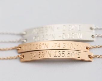Coordinates Bracelet, Personalized Bar Bracelet, Latitude Longitude Bracelet, Location Jewelry Gift for Her, Silver, Gold Fill, Rose