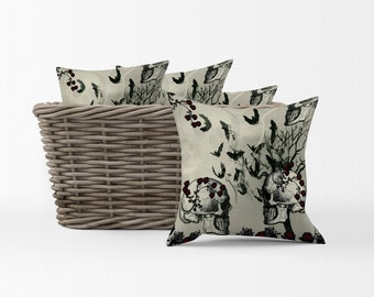 Bats, Roses, and Skulls Gothic Throw Pillow