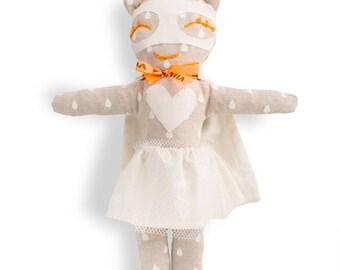 Rag doll-super hero-girl-white & beige-Miss Snowflake-Super Doudou for kid in white printed cotton