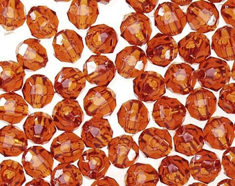8MM -Rootbeer Plastic Facet Beads - 85 piece  by Darice