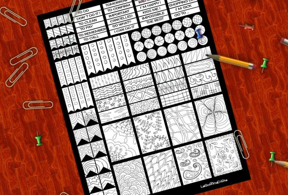 Super colorare planner stickers doodle adesivi bianco e nero da PR23