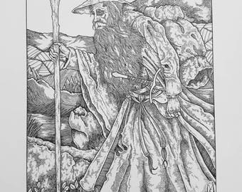 Gandalf. Lord of the Rings, the Hobbit, JRR Tolkien, wizard, fantasy, print, home decor, vintage, poster, Middle Earth, retro, illustration
