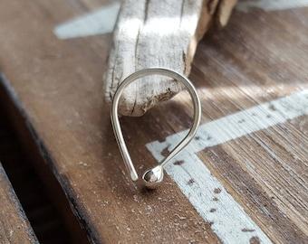 Argentium Silver Teardrop Hoop, 20g Earring, Cartilage or Lobe Arc Ball Hoop, Artisan Body Jewelry