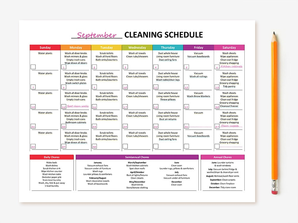 Printable Monthly Cleaning Schedule on New Years Worksheet