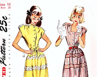 40s Vintage Sewing Pattern for Girls size 10, Teen Girls Short Sleeve Shirtwaist Dress Pattern Old Simplicity Pattern