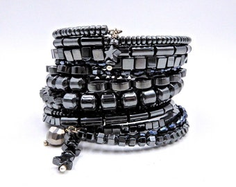 Hematite bracelet, silver wrap bracelet, memory wire bracelet, memory wire wrap bracelet, beaded Hematite bracelet, wrap bracelet