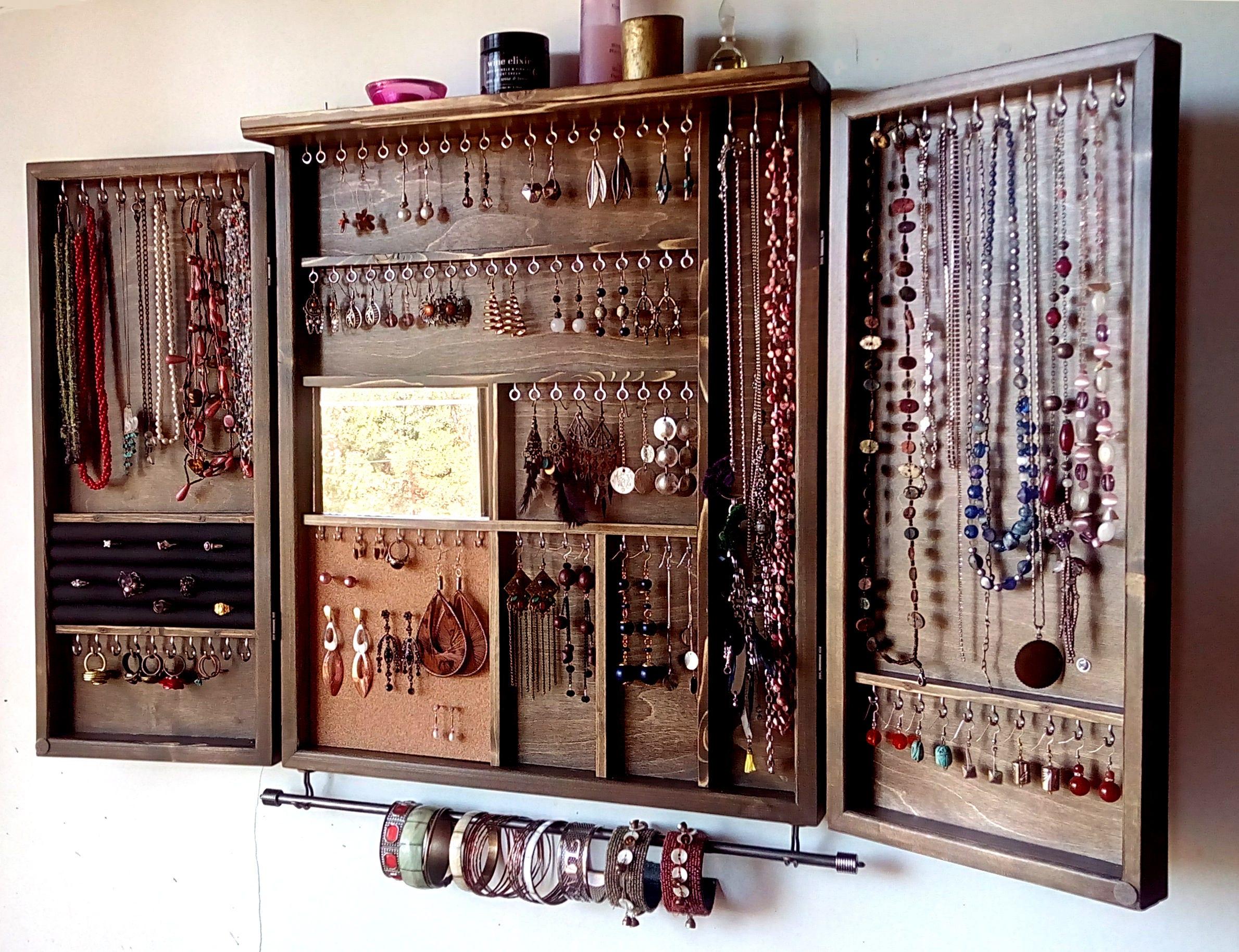 Jewelry cabinet. Large earrings closet with shelf. Dark WALNUT