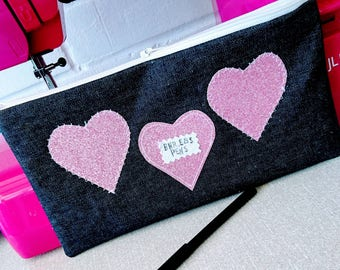 Personalised Lined Denim pencil case make up bag  pink glitter sparkly hearts pink star lined