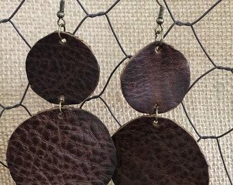 Cognac Round Leather Earrings - Boho - Bohemian Style