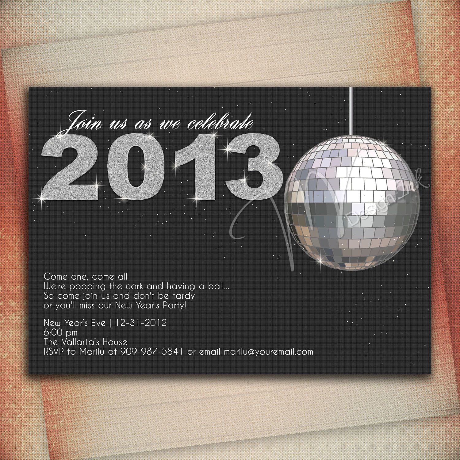 New Years Eve Party Invitation Crystal Ball Drop New