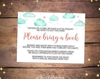 Books for the Baby - Please Bring A Book - Cloud and Rose Gold Baby Shower -Printable Cloud Baby Shower Games - Mint Baby Shower 032