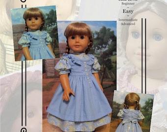 "Pattern KDD03 ""Prairie Ruffles"" Pinafore & Dress- An Original KeepersDollyDuds Design, 18"" Doll Clothes"