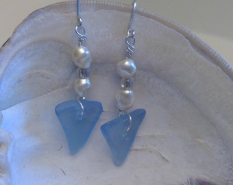 Periwinkle Blue Genuine Sea Glass Drop Earrings with Freshwater Pearls - Sterling Silver French Hooks
