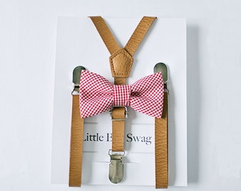 Ring Bearer Gift, Baby Boy Gift, Birthday Gift for Boys, Boy Suspenders and Bow Tie Set, Baby Shower Gift, Red Bow Tie, Wedding Suspenders