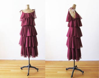 70s Dress - Disco Dress - Ruffle Dress - Spaghetti Strap Dress - Burgundy Red Dress - Midi Dress - Glam 70s Dress - Vintage 1970s Dress