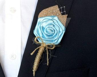 Turquoise Wedding Boutonniere , Burlap Wedding Boutonniere , Rustic Turquoise Boutonniere