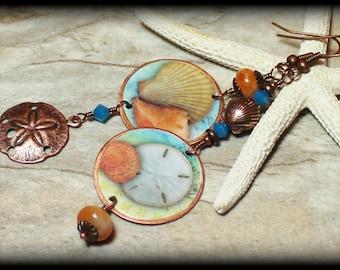 Summer Sea... Handmade Jewelry Earrings Beaded Crystal Beach Seashell Shells Sand Dollar Antique Copper Aqua Turquoise Peach Asymmetrical