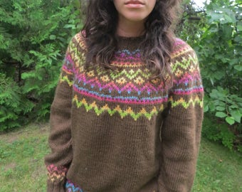 Brown wool handknit fair isle sweater