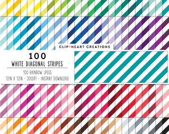 100 white diagonal stripes, Digital paper, Commercial use, digital stripes paper, digital scrap booking paper, tinted striped diagonal