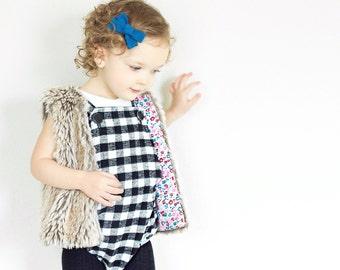 Baby girl romper/ Baby romper/ Toddler girl romper/ Girl romper/ Plaid romper/ Black and white/Special occasion/Holiday romper/Infant romper