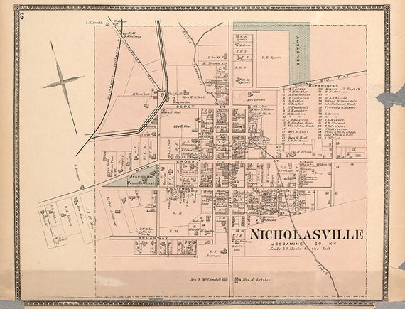 1877 Map of Nicholasville Jessamine County Kentucky