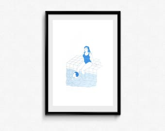 Swimming pool - riso print
