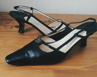 Vintage JOSEPH AZAGURY pointed sling back kitten heel pumps SIZE 38.5