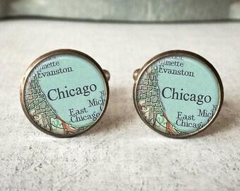 Chicago Map Cufflinks, Map Cuff Links, Cufflinks For Men, Map Jewelry, Keepsake Cufflinks, Gift For Groom, Mens Accessories, Silver or Brass