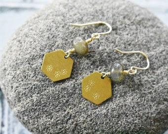 Stamped Brass Earrings- Hexagon Stone Earrings- Labradorite Wire Wrapped Earrings- Gemstone Brass Earrings