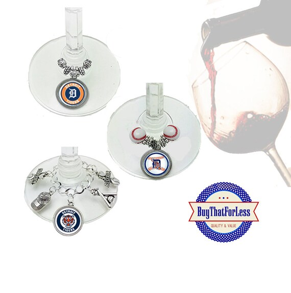 DETROIT Wine or Bottle Charms, Napkin Rings, Set of 6, U Choose Style +FREE SHIPPING & Discounts*