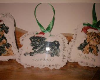 Personalized dog cross stitch pillow ornament