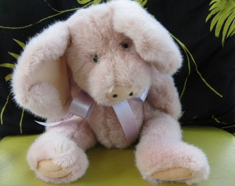 Boyd's Bear,  Piglet, Vintage 1985, and soft pink piglet color.  He is all vintage but is sporting a new bow.