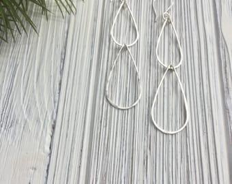 Small Silver Waterfall Earrings