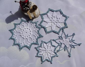 Doilies crochet for Christmas handmade cotton white and Blue Metallic.