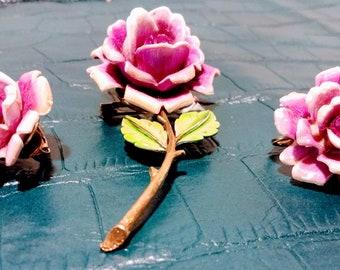 Vintage J.J. Flower Brooch and Earring Set