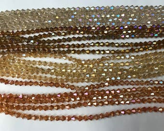 6mm crystal Bicone glass, around 45beads, faceted, 1strand