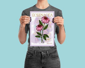 ECHINACEA - Flower Ink Watercolour Wall Art Poster