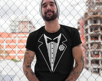 Black Tuxedo T-Shirt, Tuxedo Shirt, Wedding Groom T-Shirt, Costume Outfit, Retro Tuxedo, Graphic Shirt - T273