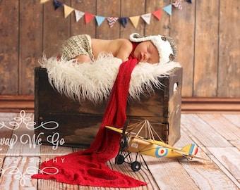Baby Aviator Hat -  Newborn Boy Prop - Baby Pilot Hat - Baby Crochet Hat - Baby Boy Prop - Newborn Aviator Prop - Aviator Theme
