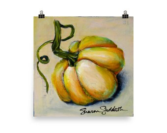 Pumpkin 1 (Series of 4), Farmhouse Fall, Print of Original - Sharon Sudduth Artist
