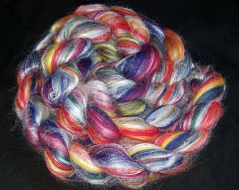 80/20 Merino wool & silk spinning fiber 4oz ribbon candy rainbow