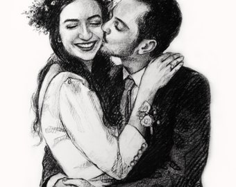 paper anniversary gift for him personalized charcoal drawing from photo on paper anniversary gift for her paper gifts
