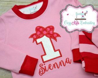 Birthday Pajamas, birthday pjs, girl pajamas, girl pj, girls pajamas, girls pjs, boutique pajamas, boutique pjs, applique, embroidery, name
