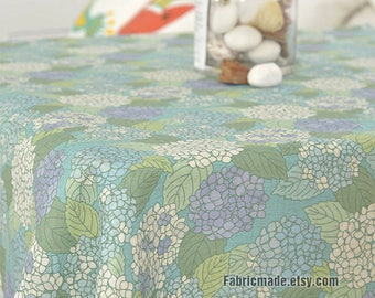 Hydrangea Floral Linen fabric Green Blue Hydrangea Flower Linen Cotton Fabric for Cushion Upholstery- A half yard