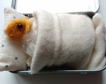 Easter Sleepy Sheep -mustard. Needle felted.  A new addition to the Tinny Tinies range. Complete with bed, bedding and adoption certificate.