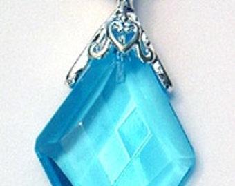 38mm Faceted Light Aquamarine Blue Quartz Diamond Charm Drop Pendant w Silver Setting
